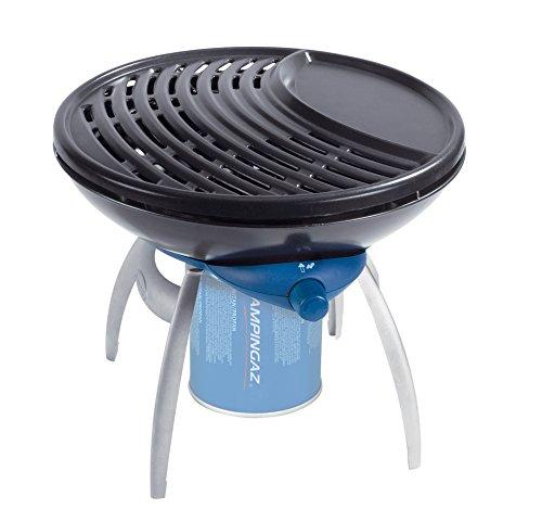 Campingaz Party Grill, Kleiner Grill für Camping, Festivals oder Picknick, Camping-Grill mit flexiblen Kochmöglichkeiten, Gaskocher mit Antihaftbeschichteter Grillplatte und Topfträger