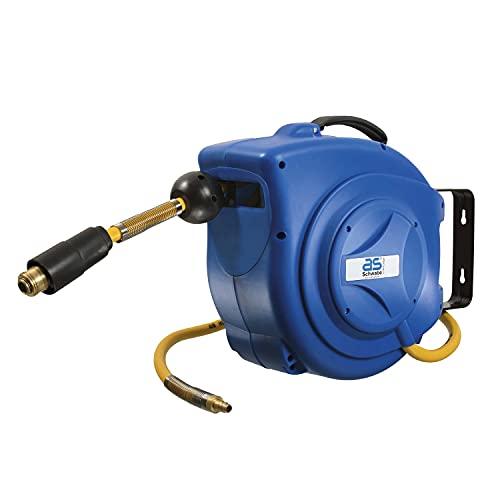 as - Schwabe automatische Druckluftschlauchtrommel – 10 m PVC-Schlauch und 1 m Anschlussschlauch, mit Schlauchstopp und Schnell-Verschlusskupplung, massive Wandhalterung, Blau I 12612