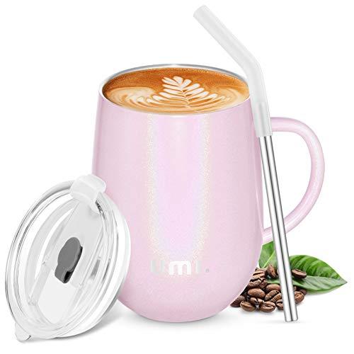 Amazon Brand - Umi Kaffeebecher to go 360ml, Thermobecher Edelstahl Isolierender Wiederverwendbarer Kaffeebecher BPA-Frei, Reisebecher mit Trinkhalm und 2 Deckel, Kaffeetasse für Kaffee, Wein, Rosa