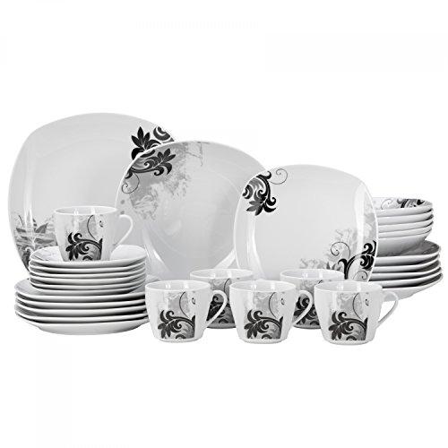 Van Well 30-tlg. Kombi-Geschirr Black Flower für 6 Personen   Tafel-Service + Kaffee-Set   modernes Dekor   abstrakt   edles Hotel-Porzellan   Gastro