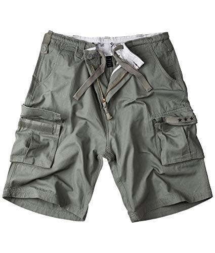 Surplus Raw Vintage Herren Cargo Shorts Stars Bermuda, Oliv Light 3XL Kurze Hose in Army Style 100% Baumwolle große Taschen Klettverschluss Camouflage Washed Sommerhose Outdoor Arbeit Freizeit