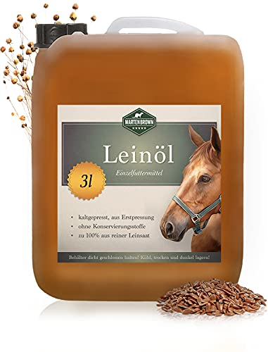 Martenbrown® Premium Leinöl für Pferde, Hunde und andere Tiere   im XXL-Kanister [3 Liter]   kaltgepresst und 100% rein und natürlich   Nahrungsergänzung für Tierfutter