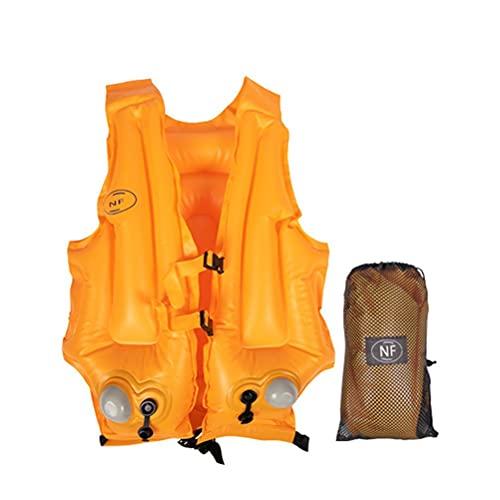 Stecel Schwimmhilfe Automatisch aufblasbar Feststoff Rettungsweste Schwimmweste für Erwachsene,Damen/Herren, Schnorchelweste für Kajak Bootfahren, Schnorcheln,Orange