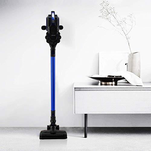 Arebos Lithium-Ionen-Akku Staubsauger | 2-in-1 Hand- und Bodenstaubsauger | 2 leistungsstarke Saugmodi | LED-Bodendüse | Beutellos | Kabellos bis zu 55 Minuten | mit Wandladestation (Blau)