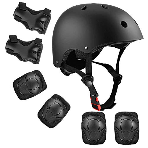 AODOOR Knieschoner Set mit Helm, Kinder Schützer Junge Mädchen universell, Einstellbar Helm Knieschoner Ellenbogenschoner Handgelenkschutz für Radfahren Inline Skates Skateboarding (7 PCS)