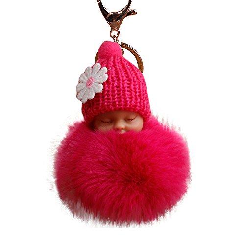 Gaddrt 8 cm flauschiger Pompon mit niedlichem Plüsch, schlafende Babypuppe, Schlüsselanhänger, Taschenanhänger, Hot Pink