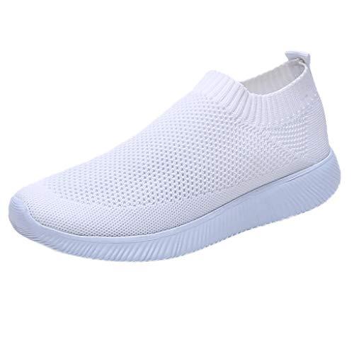 MRULIC Damen Laufschuhe Outdoor Mesh Lässige Sportschuhe Atmungsaktive Schuhe Turnschuhe Sneakers Leichte Gestrickte Schuhe Racer Fitnessschuhe (Weiß,EU-40/CN-41)