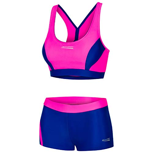 Aqua Speed Damen Bikini Set | Two Piece Swimsuit | Womens Swimwear | Zweiteilige Badebekleidung | Strand Bademode | Zweiteiler für Frauen | Beachwear | Gr. 42, 43 Neon Pink - Navy | Fiona
