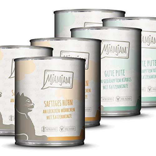 MjAMjAM - Premium Nassfutter für Katzen - Monopaket 1 - mit Huhn und Pute, 6er Pack (6 x 800 g), getreidefrei mit extra viel Fleisch