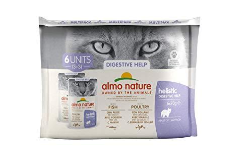 almo nature Multipack Holistic Digestive Help Multipack Mit Fisch - Mit GeflügelAlleinfutter für Erwachsene Katzen.