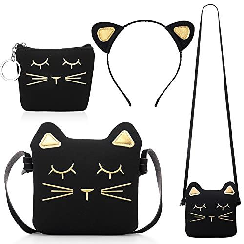 Weewooday 3 Stücke Katze Umhängetasche Geldbörsen Stirnband für Mädchen, Süße Handtaschen für Mädchen Katzen Handtasche mit Mini Münztäschchen und Katzen Stirnband (Schwarz)