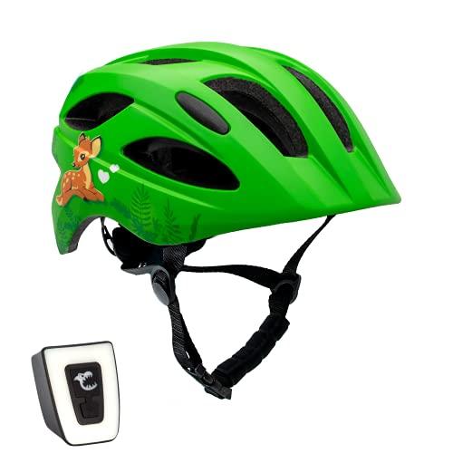 Fahrradhelm mit licht für Kinder - und Jugendliche | Größe 54-58 I Ansprechender Kinder-Fahrradhelm für Jungs und Mädchen I Aufladbares LED-Licht I Reflektierende Gurtbänder I CE Zertifiziert