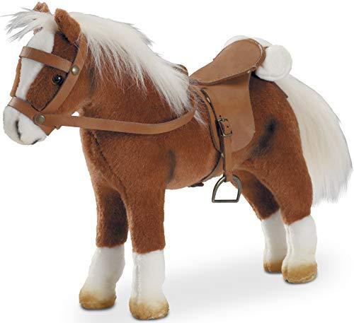Götz 3401099 Springturniersieger Pferde-Puppe (Stockmaß 27 cm) - 33 cm hohes Plüschpferd für Stehpuppen - mit Sattel, Zaumzeug und Picknickdecke