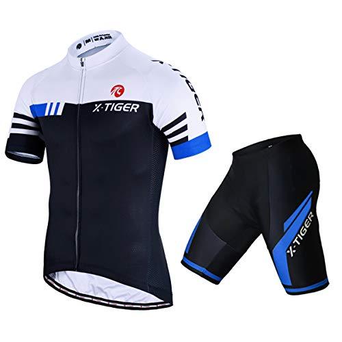 X-TIGER Herren Fahrradtrikot, kurzärmliges Set mit 5D-Gel-gepolsterten Shorts, Fahrradbekleidung Set für Mountainbikes, (Blau, XXL)