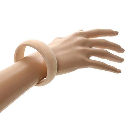 Daily Mall Unbehandelte Holz Armband Naturholz Armreif DIY Bangle Form Auswahl - Naturholz, 2