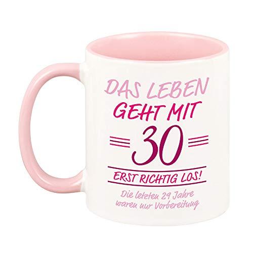 rosa TASSE mit Spruch -Das Leben geht mit 30 erst richtig los- lustige Geschenkidee zum runden Geburtstag für sie & für ihn KAFFEEBECHER (rosa, 30)