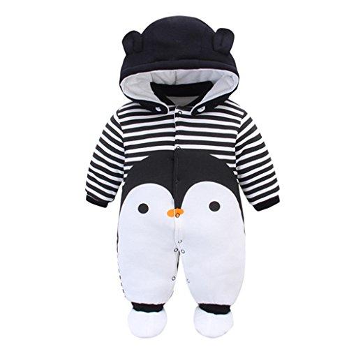 Neugeborene Baby Overall Mit Kapuze Footies Strampler Winter Schneeanzüge Karikatur Jumpsuit Onesies, 0-3 Monate