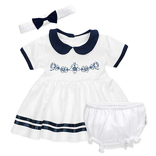 Baby Sweets 3er Babyset mit Kleid, Pumphose & Baby-Haarband/Newborn Babykleidung Mädchen in Weiß & Blau/Erstausstattung Baby Kleid/Taufkleid für Neugeborene & Kleinkinder GrößeNewborn (56)