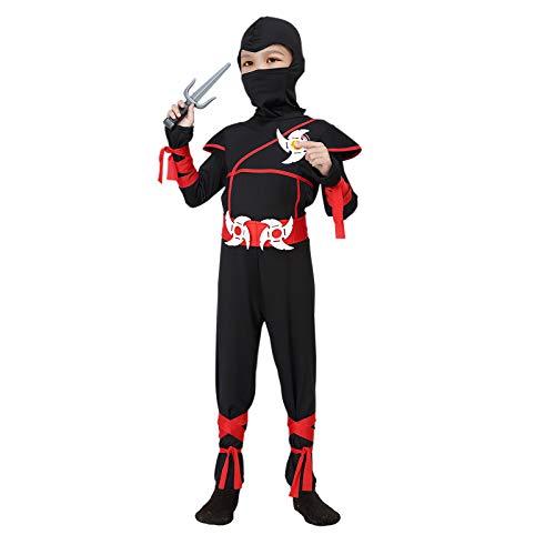 ThinkMax Kinder Ninja Kostüm, Halloween Kostüm für Jungen mit Ninja Foam Zubehör Spielzeug (7-9 Jahre)