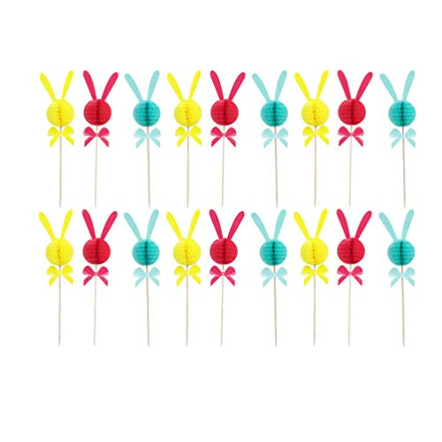 ABOOFAN 36 Stück Ostern Kaninchen Kuchen Topper Hase Cupcake Topper Dessert Picks Obst Snack Zahnstocher für Ostern Geburtstagsfeier Gunst Liefert Gemischte Farbe