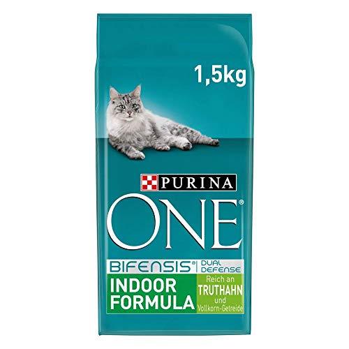 PURINA ONE BIFENSIS INDOOR FORMULA Katzenfutter trocken für Hauskatzen, reich an Truthahn, 6er Pack (6 x 1,5kg)