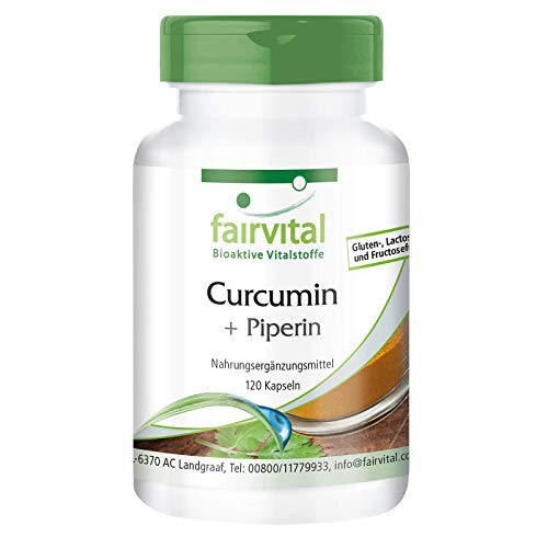 Kurkuma Kapseln - 500mg Curcuma Extrakt pro Kapsel - HOCHDOSIERT - Curcumin 95% mit Bioperin (Piperin) - 120 Kapseln