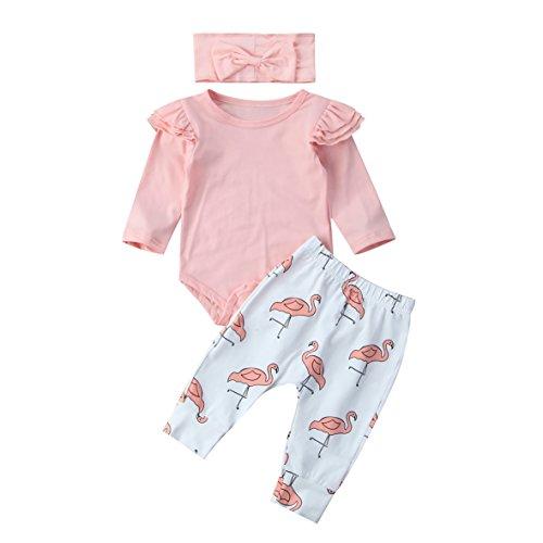 Carolilly Neugeborenes Baby Mädchen Langarm Body Romper Overalls + Hosen Outfits Set Kleidung Set (0-3 Monate, Rosa Flamingo), Gr. 70