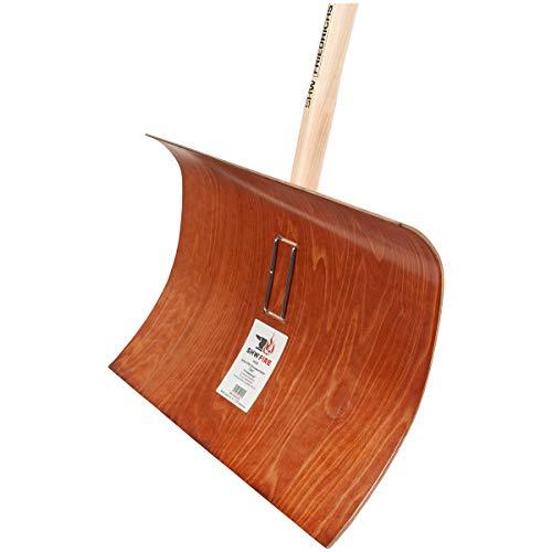 SHW-FIRE 59022 Schneeschieber Schneeschaufel Obo Holz salzbeständig 55 cm breit Professional mit Stiel Ovalstiel 150 cm lang