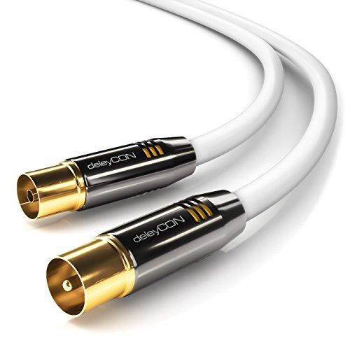 deleyCON 1m TV Antennenkabel Koaxialkabel TV Kabel HDTV Full HD - TV-Stecker zu TV-Buchse - Metallstecker - Analog Digital - Weiß