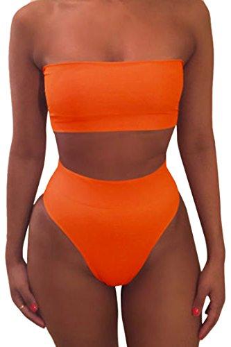 Viottisetet Bandeau Top Damen Bikini Set High Waist Badeanzug mit Abnehmbare Träger, Orange, XL