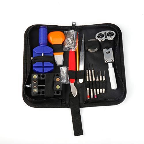 Detrade Deluxe 144-teiliges Uhrmacher-Werkzeugset mit Etui, Federstab-Entferner zum Einstellen/Austauschen des Armbands (Black)