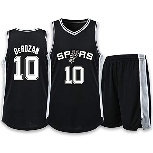TIANHAO Basketball-Anzug-Set, Spurs-Trikots Basketball-Uniform-Set, Herren-Boutique-Druck Sportweste College-Wettkampf-Trainingsanzug,Black 10,5XL
