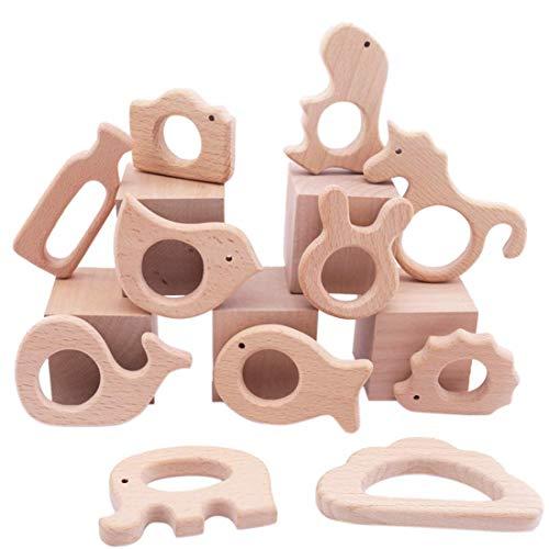 Promise Babe 11pc Baby Hölzernes Kinderkrankheiten Montessori Toys Holz Vogel Elefant Eichhörnchen Tiere Kit Handgemachter Anhänger Sensorisches Spielzeug