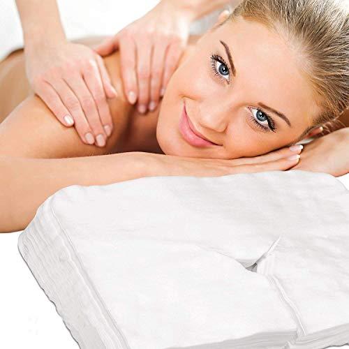 Cleaing 43x33 cm Einweg Gesichtsauflage für die Kopfstütze von Massage-Liegen Nasenschlitz-Tücher aus weichem Vlies für alle Kosmetik-Tische und Therapie-Bänke 100 Stück