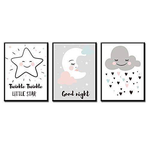 bdrsjdsb Cartoon Moon Star Cloud Poster Wandkunst Bild Leinwand Ungerahmt Malerei Kinderzimmer Dekor 2# 21 * 30 cm