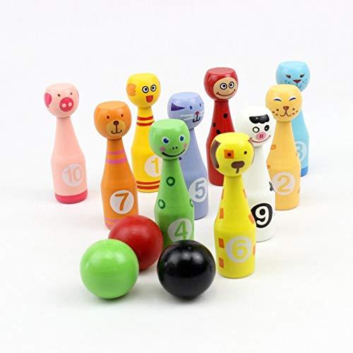 ColorBuy Kegelspiel für Kinder, Bowlingkugel in Tierform mit 10 Kegeln und 3 Bällen, Holzspielzeug für Kinder 3+ Indoor-Outdoor-Spiel