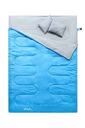 Semoo Doppelschlafsack - 3-Jahreszeiten Schlafsack für 2 Personen - 220 x 150cm (bis -5C) - Blau