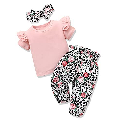 ZOEREA Baby Mädchen Kleidung Set Sommer Babyset Rüschen Schulter Kurzarm Tops + Blumen Hose + Bogen Stirnband Neugeborene Kleinkinder Babykleidung Outfits Set