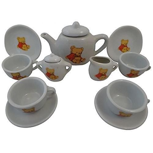 Puppen-Teeservice | Kinder-Kaffeeservice aus Porzellan PW 2175 | Teddy-Bären-Design | mit Tablett, Kanne, Tassen und Teller |Holzspielzeug-Peitz