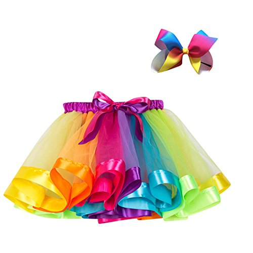 Kobay Kinder Mädchen Mesh Regenbogen Prinzessin Ballett Tutu Performance Rock + Bow Haarnadel Set(3-4T,Mehrfarbig)