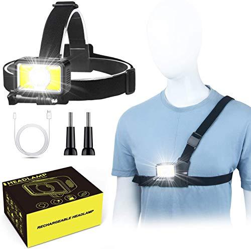 Avaspot Stirnlampe Lauflicht,2Wege 7 Modi 1000 Lumen LED Wiederaufladbare Kopflampe Wasserdicht mit Rotes Sicherheitslicht für Erwachsene und Kinder im Freien,für Laufen Campen Angeln Joggen Radfahren