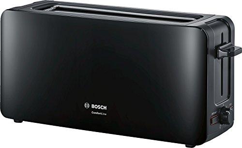 Bosch TAT6A003 ComfortLine Langschlitz-Toaster, Auftaufunktion, automatische Brotzentrierung, Abschaltautomatik, 1090 W, schwarz