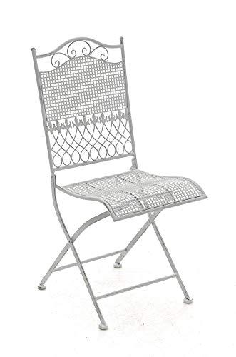 CLP Eisen-Klappstuhl Kiran im Jugendstil I Klappbarer Gartenstuhl mit edlen Verzierungen I erhältlich, Farbe:antik weiß