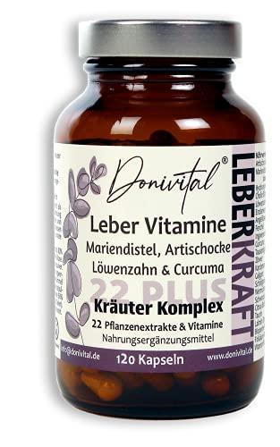 Donivital® Leber-Vitamine 22PLUS - Hochdosiert Mariendistel für 2 Monate Kräuterkraft - 22-fach Kräuter-Komplex Artischocken Löwenzahn Ingwer Enzian Curcuma Galgant und viele weitere mehr.