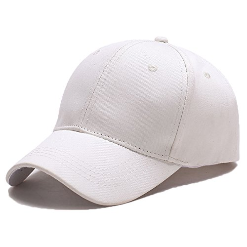 Yidarton Unisex Kappe Outdoor Baseball Cap Verstellbar Erwachsenen Mütze Casual Cool Mode Baseballmütze Hip Hop Flat Hüte (Weiß)