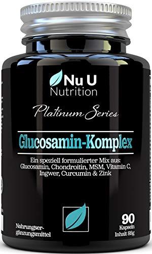 Glucosamin & Chondroitin Hochdosiert, MSM, Vitamin C, Ingwer, Kurkuma und Zink   90 Glucosaminsulfat-Kapseln   Bestes Premium Ergänzungsmittel für die Osteo-Gelenkpflege