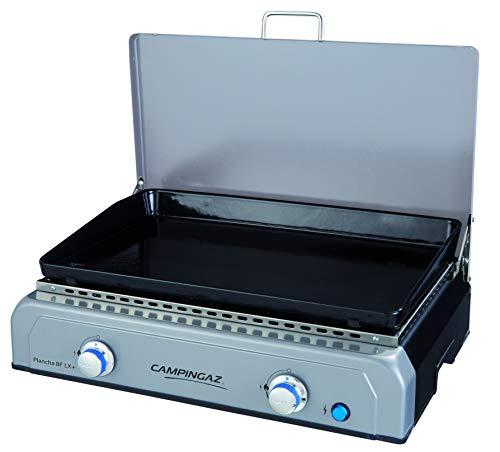 Campingaz Plancha, Gas Tischgrill, Gastrobräter mit Grillplatte aus emailliertem Stahl und 2 Stahlbrennern, Tischgriller mit BlueFlame Technologie für mediterranes Grillen a la Plancha