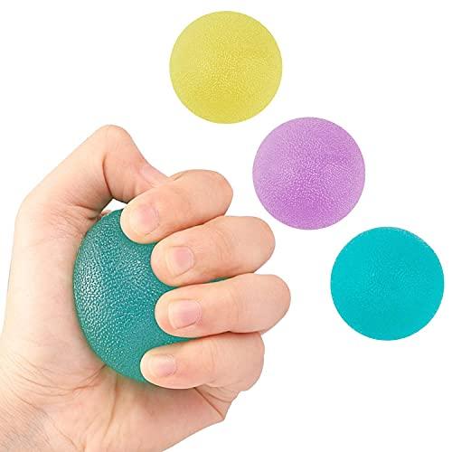 NATEE 3 Stück Hand Therapie Bälle, Eiförmige Griffbälle Handtrainer, Antistressball, Handtrainer und Fingertrainer mit Unterschiedlichen Härtegraden