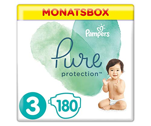 Pampers Größe 3 Pure Protection Baby Windeln, 180 Stück, MONATSBOX, Mit Premium-Baumwolle Und Pflanzenbasierten Materialien (6-10 kg)