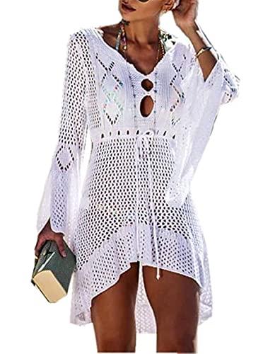 Jinsha Gestrickte Bikini Cover Up Strandponcho Strandkleid für Damen Sommer Pareos (Weiß)